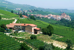 The vineyards at the village of Barolo in Piedmont Stock Images