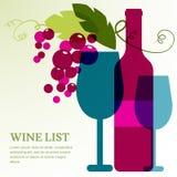 Vinflaska, exponeringsglas och filial av druvan med sidor Royaltyfri Fotografi