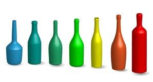 Vinflaska, glass bottelskontur i olik vinflaska för typ 3D, glass bottelskontur i olik typåtlöje upp i kulört royaltyfri illustrationer