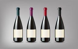 Vinflaska med på isolerad grå bakgrund Ordna till för din Des stock illustrationer