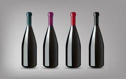 Vinflaska med på isolerad grå bakgrund Ordna till för din Des Royaltyfri Illustrationer