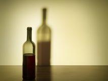 Vinflaska med stor skugga. Retro stil. royaltyfria foton