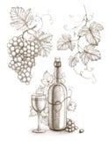 Vinflaska och druva Arkivbild