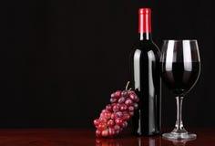 Vinflaska och exponeringsglas av rött vin med nya druvor Arkivfoton