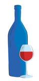Vinflaska och exponeringsglas på vit bakgrund Vektorsymbol eller tecken Royaltyfria Foton