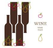 Vinflaskor med äpplen och päron, annonsbaner Stock Illustrationer