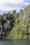 Vingårdar längs floden Sil, Ribeira Sacra, Lugo, Spanien royaltyfria bilder