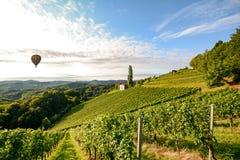 Vingårdar med ballongen för varm luft nära en vinodling för skörden i det växande området för tuscany vin, Italien arkivfoton
