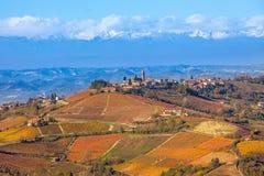 Vingårdar och kullar i höst i Italien Arkivbild