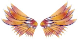 vingar för guld för ängelfågel felika Royaltyfri Bild