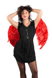 vingar för härlig flicka för ängel röda sexiga Royaltyfria Foton