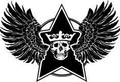 vingar för teckenskallestjärna Royaltyfri Bild