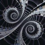 Vingar för turbinblad dubblerar för effektabstrakt begrepp för spole spiral fractal Arkivbild