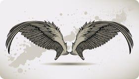 vingar för vektor för illustration för teckningsgriffonhand Arkivfoton
