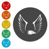 Vingar Logo Template Vektoraffärssymbol Eagle Icon royaltyfri illustrationer