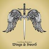 Vingar och svärd stock illustrationer
