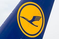 Vinge för flygplan för Lufthansa flygbuss A380 Arkivfoto
