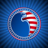 Vinge för huvud för medaljflaggaEagle USA Amerika bakgrund Arkivbild