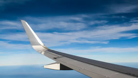 vinge för skies för blått flyg för flygplanhöjd hög Royaltyfri Fotografi