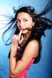 Vinger op de lippen van een model Royalty-vrije Stock Foto