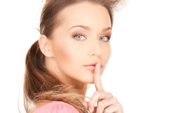 Vinger op lippen Royalty-vrije Stock Afbeelding