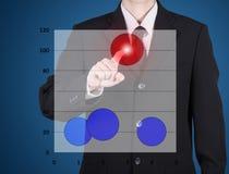 vinger van bedrijfsmensenpers aan rode cirkelgrafiek Royalty-vrije Stock Afbeelding