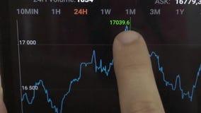 Vinger volgende het toenemen grafiek stock videobeelden