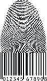 Vingerafdruk als streepjescode Stock Afbeeldingen