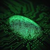 Vingerafdruk Binaire Microchip royalty-vrije illustratie