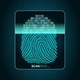 Vingerafdrukaftasten - digitaal biometrisch veiligheidssysteem, gegevensbescherming Stock Foto