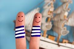 vingers als bemanning van het piraatschip stock afbeelding