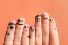 Vingers met tekeningen van gelukkige gezichten Royalty-vrije Stock Fotografie