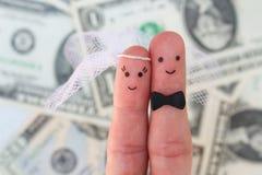Vingerskunst van een Gelukkig paar Bruid en bruidegomomhelzing op achtergrond van geld stock foto