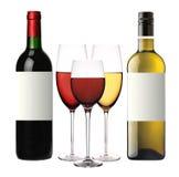 Vinglas med rött och isolerade vitt vin och flaskor Royaltyfri Fotografi