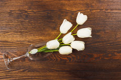 Vinglas med vita tulpan Arkivbilder