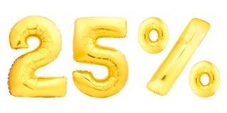 Vingt-cinq 25 pour cent d'or Images stock