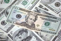 Vingt dollars américains de billet de banque Photographie stock libre de droits