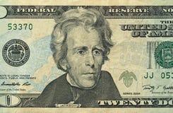 Vingt dollars avec une note 20 dollars Images libres de droits