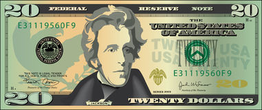 Vingt dollars bill.jpg Photo libre de droits