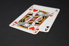 Vingt-et-un - cartes de roi et d'as Images libres de droits