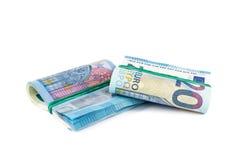 Vingt euro paquets de billets de banque Photos stock