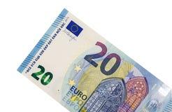 Vingt euros sur un fond blanc Photo stock