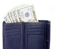 Vingt factures des USA du dollar dans une pochette Image libre de droits