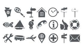 Vingt icônes d'un voyage Illustration de Vecteur