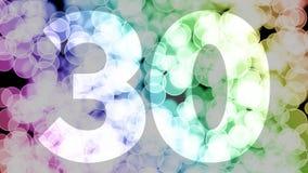 Vingt-neuf à trente ans d'anniversaire se fanent l'animation d'in/out avec le fond en mouvement de bokeh de gradient de couleur illustration stock