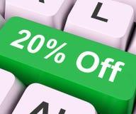 Vingt pour cent outre de clé signifient la remise ou la vente Images stock