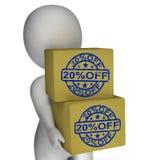 Vingt pour cent outre de prix réduit de l'exposition 20 de boîtes Images stock