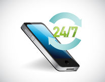 vingt-quatre toute la journée téléphones d'aide du service sept Photo stock