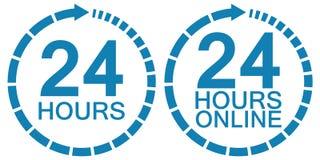 24 vingt-quatre vecteurs de logo de service en ligne d'horloge d'heure 24 heures d'heures de symbole, service fonctionnant autour Photos stock
