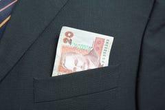 Vingt Ukrainien Hryvnia dans la poche d'un costume Image stock